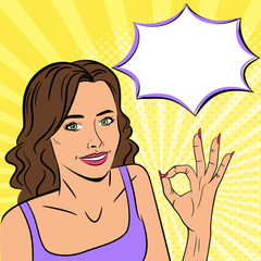 Young beautiful woman showing ok sign. Smile. Speech bubble. Vector illustration in pop art style.