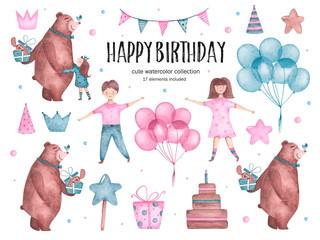 Set of watercolor happy birthday elements bear hugs balloons girl boy