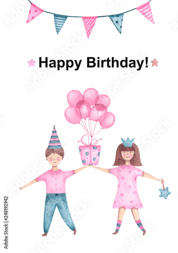 Watercolor Kids Boy And Girl Holding Gift With Balloon In Hand For Happy Birthday