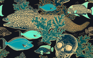 Seamless pattern. Gold and turquoise fish, corals and human skull.