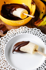 Chocolate dipped banana.