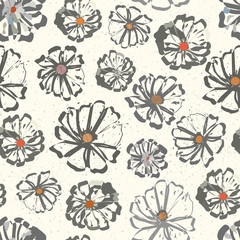 Neutral floral seamless vector pattern with colour splashes on a subtly flecked background. Hand-drawn with modern urban vibe. Perfect for stationery, textiles, home decor, giftwrapping, packaging