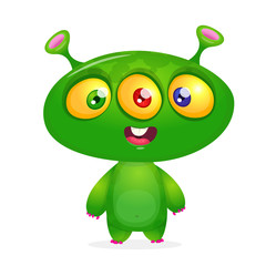 Cartoon Character Funny Alien with thee eyes. Vector Illustration Isolated