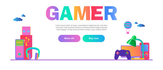 accessories for computer games horizontal web banner