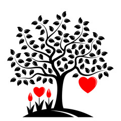 heart tree and heart flowers