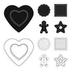 Vector illustration of biscuit and bake symbol. Set of biscuit and chocolate vector icon for stock.