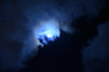 Night moon in the blue sky