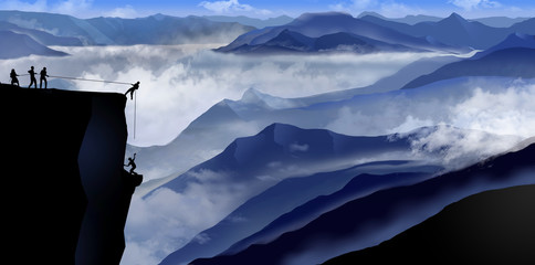 Teamwork to overcome challenges is illustrated here with a view of people making a mountain rescue with ropes and courage. Wall mural
