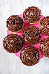 homemade vanilla cupcakes with chocolate swirl icing on white background