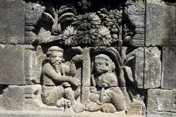 Stone carving. at Borobudur temple, Magelang, Indonesia