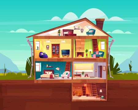 Two-storey cottage house cross section interior cartoon vector with spacious hall, fireplace in comfortable living room, bedroom on attic and wine cellar in basement illustration. Real estate concept