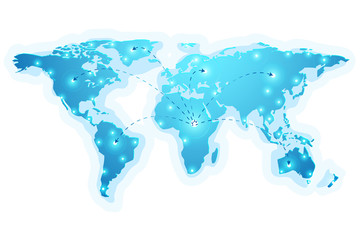 vector of world map on dark blue , network concept