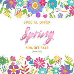 Spring sale background with beautiful colorful flower. Vector illustration. Wallpaper. flyers, posters, brochure, voucher discount. Spring sale banner with paper flowers for online shopping.
