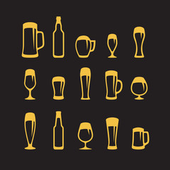 Set of beer glasses and beer mugs icons on black background.