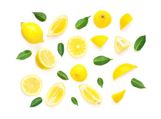Lemon Summer Pattern. Fresh Lemon fruits and slices with leaf isolated on white background. Flat lay, top view.