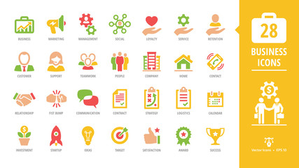 Business glyph icon set with with customer, support, teamwork, people, company, home, contact, handshake, fist bump and more pictogram.