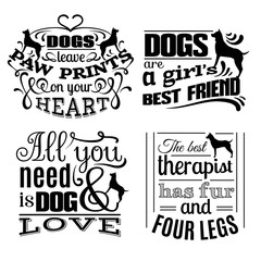 Collection of  trendy quote typographical background about dog with hand drawn elements. Template  for business card poster label and banner. Illustration of silhouette of dog's profile.
