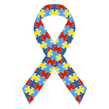 Autism Awareness Ribbon - Colorful autism awareness ribbon isolated on white background