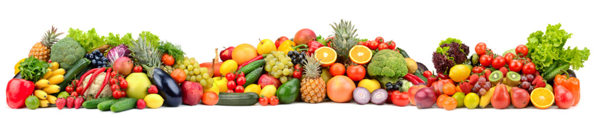 Composition variety fresh fruits and vegetables isolated on white background.