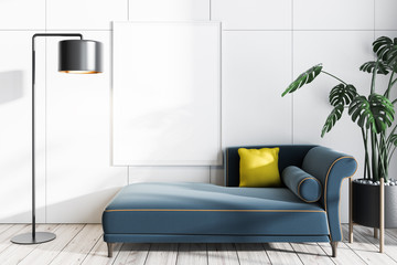 White living room with sofa and poster Wall mural