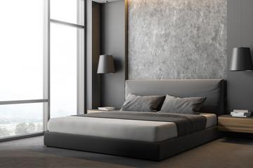 Corner of gray and stone bedroom