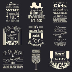 Collection of quote typographical background about champagne and wine. Template for business card, poster and banner with hand drawn elements