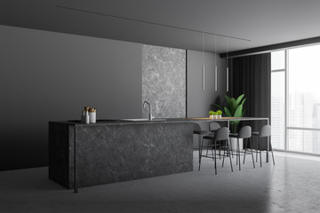 Gray and stone kitchen corner with bar