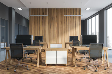 Gray and wooden open space office
