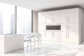Panoramic beige kitchen corner