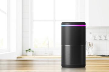 Smart speaker in kitchen