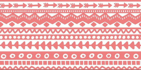 Vector seamless pink and white illustration. Ethnic hand drawn pattern for wallpaper,fabric, textile