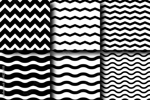 Set of seamless vector patterns of chevron and wave lines