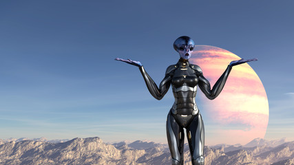 Illustration of an extraterrestrial wearing a spacesuit standing on a mountaintop making a whatever gesture on an alien planet.