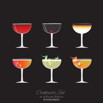 Set of 6 cocktails in coupe glass