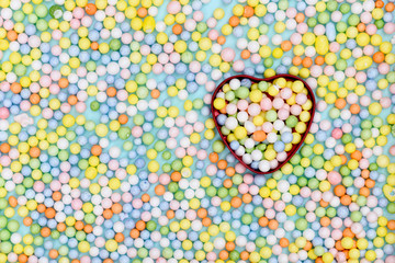abstract Colorful foam background with hearts