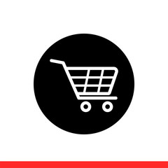 Shopping cart vector icon, basket symbol. Simple, flat design for web or mobile app