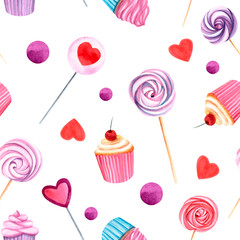 watercolor seamless pattern with sweets on the white background
