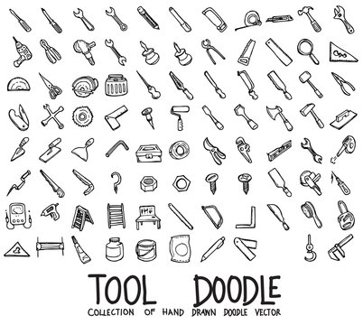 Set of Tool icons Drawing illustration Hand drawn doodle Sketch line vector eps10