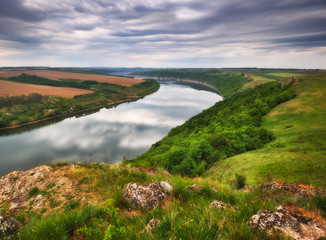 """spring morning Dawn in the national park """"Podolskie Tovtry."""" canyon of the picturesque river"""