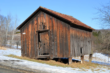 abandoned farm shed