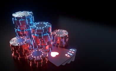 Casino Chips Concept With Futuristic Neon Lights - Isolated On The Black Background - 3D Illustration