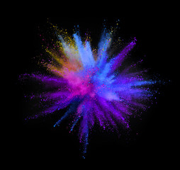 Multi colored powder explosion isolated on black