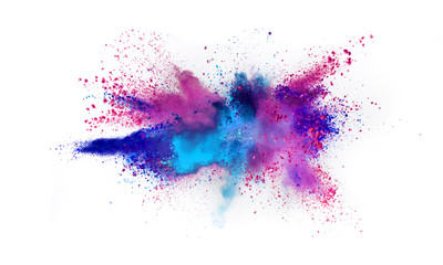 Fototapete - Multi colored powder explosion isolated on white