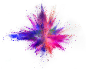 Multi colored powder explosion isolated on white