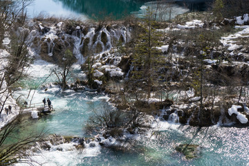 Visitors in the Plitvice National Park