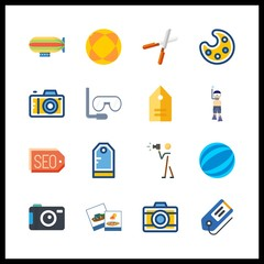 16 hobby icon. Vector illustration hobby set. photo camera and zeppelin icons for hobby works