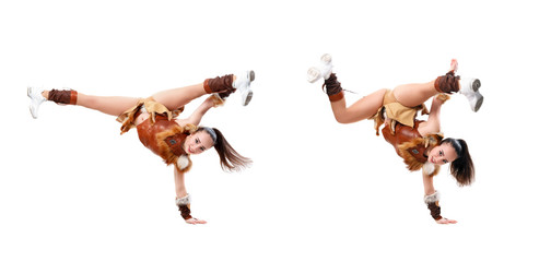 Young professional cheerleader dressed in a warrior costume standing on one hand. Horizontal splits, girl doing acrobatic and flexible tricks, image set