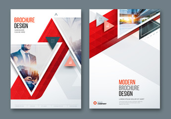 Red Business Report Cover Layouts with Triangles