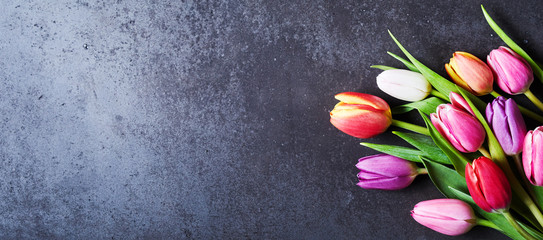 Tulips bouquet on dark grey background