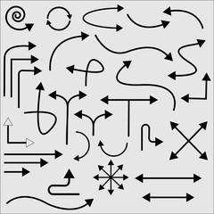 Set of line arrow. Vector illustration.